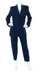 Cheap and Chic Deconstructed Navy Trouser Pant Suit
