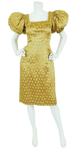 1950's Gold Silk Satin Dramatic Puff Sleeve Dress