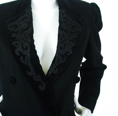 1980's Black Wool Velvet Lapel Coat