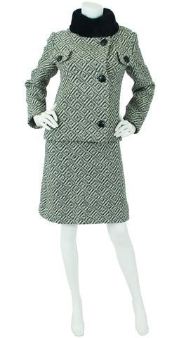 Demi Couture 1960's Fur Collar Wool Dress Suit