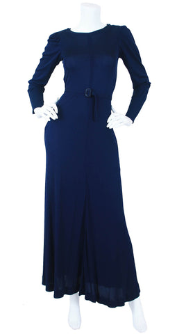 1970's Navy Jersey Deco Belt Maxi Dress
