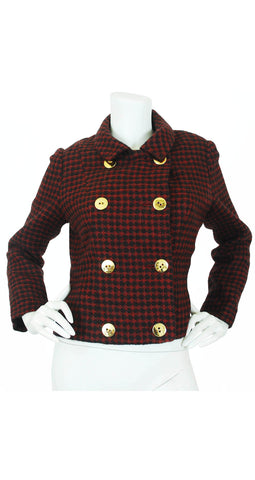 Early 1960s Red & Black Checkered Wool Jacket