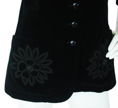 c.1970 Black Velvet Flower Applique Jacket