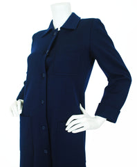 c.1970 Navy Blue Wool Jersey Coat