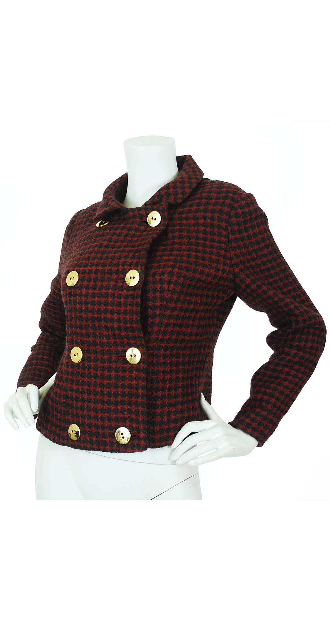 Early 1960's Red & Black Checkered Wool Jacket