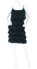 1960's Tiered Black Silk Chiffon Party Dress