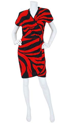 1980s Red and Black Cotton Zebra Stripe Dress