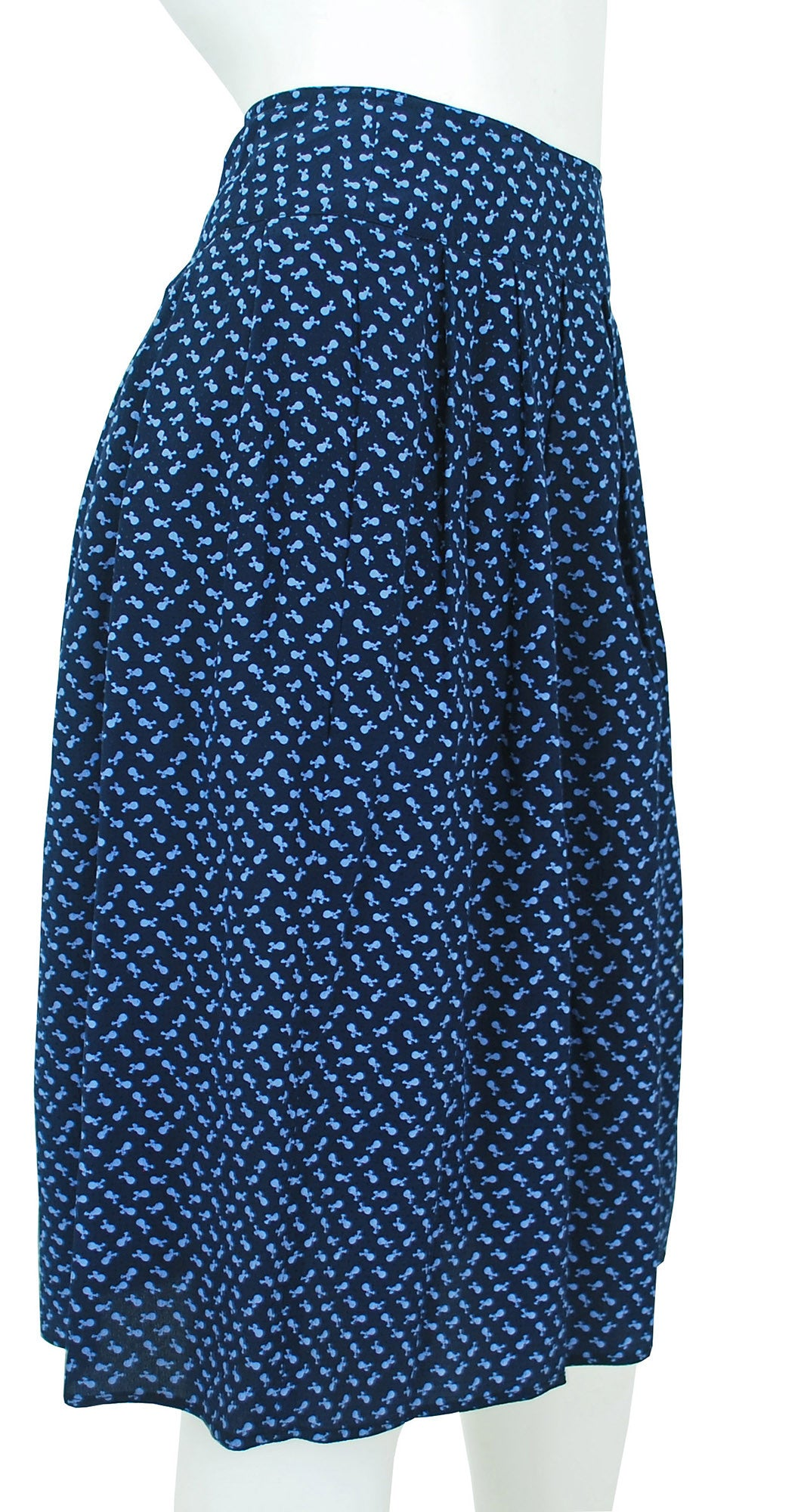 1970s Floral Textured Navy Silk Skirt