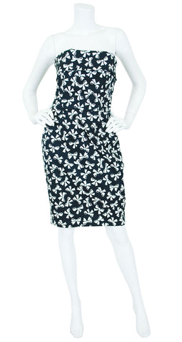 1987 S/S Bow Print Black and White Cotton Strapless Dress
