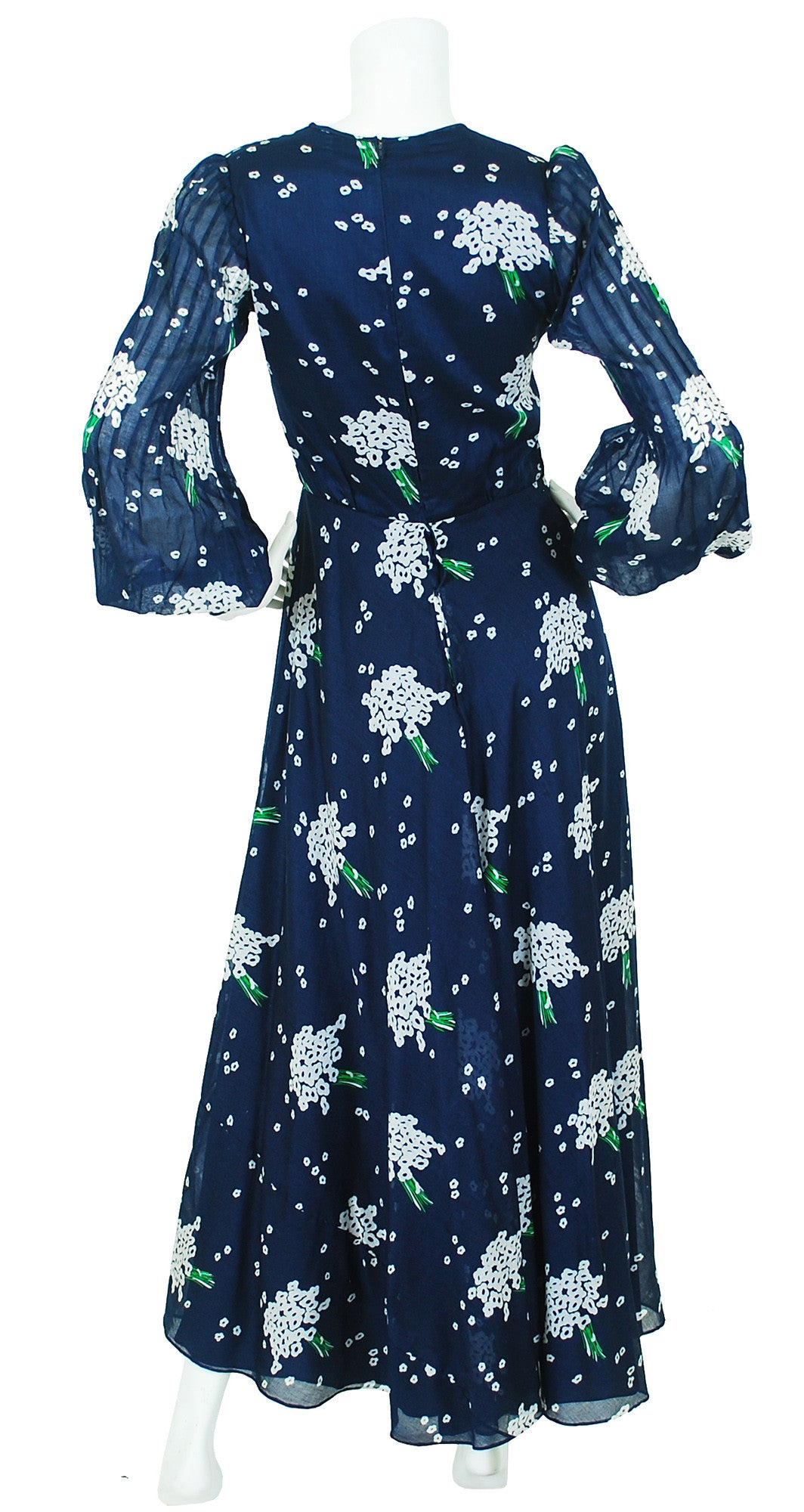 1970's Navy Floral Cotton Balloon Sleeve Maxi