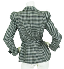 1990's Bow Black & White Gingham Wool Blazer