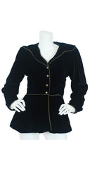 1981 Black Velvet Gold Trim Jacket
