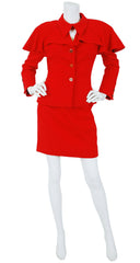 Fall 1995 Ad Campaign Red Wool Skirt Suit