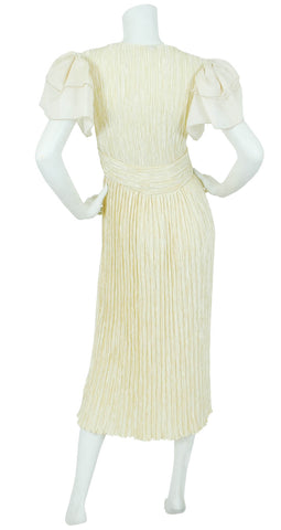 1980's Cream Fortuny Pleat Organza Evening Dress