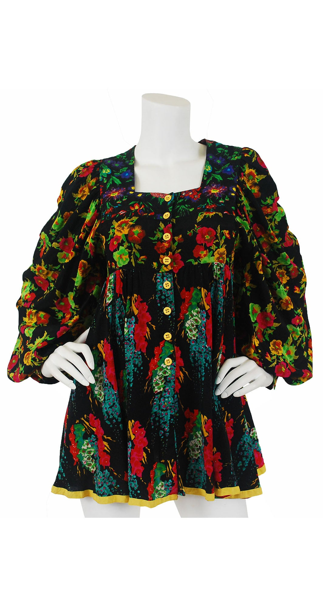 1970's Floral Billowing Sleeve Blouse