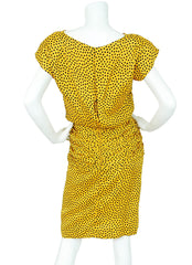 1980s Numbered Polka-Dot Yellow Silk Dress