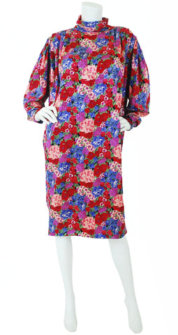 1980's Floral Jacquard Silk Sac Dress