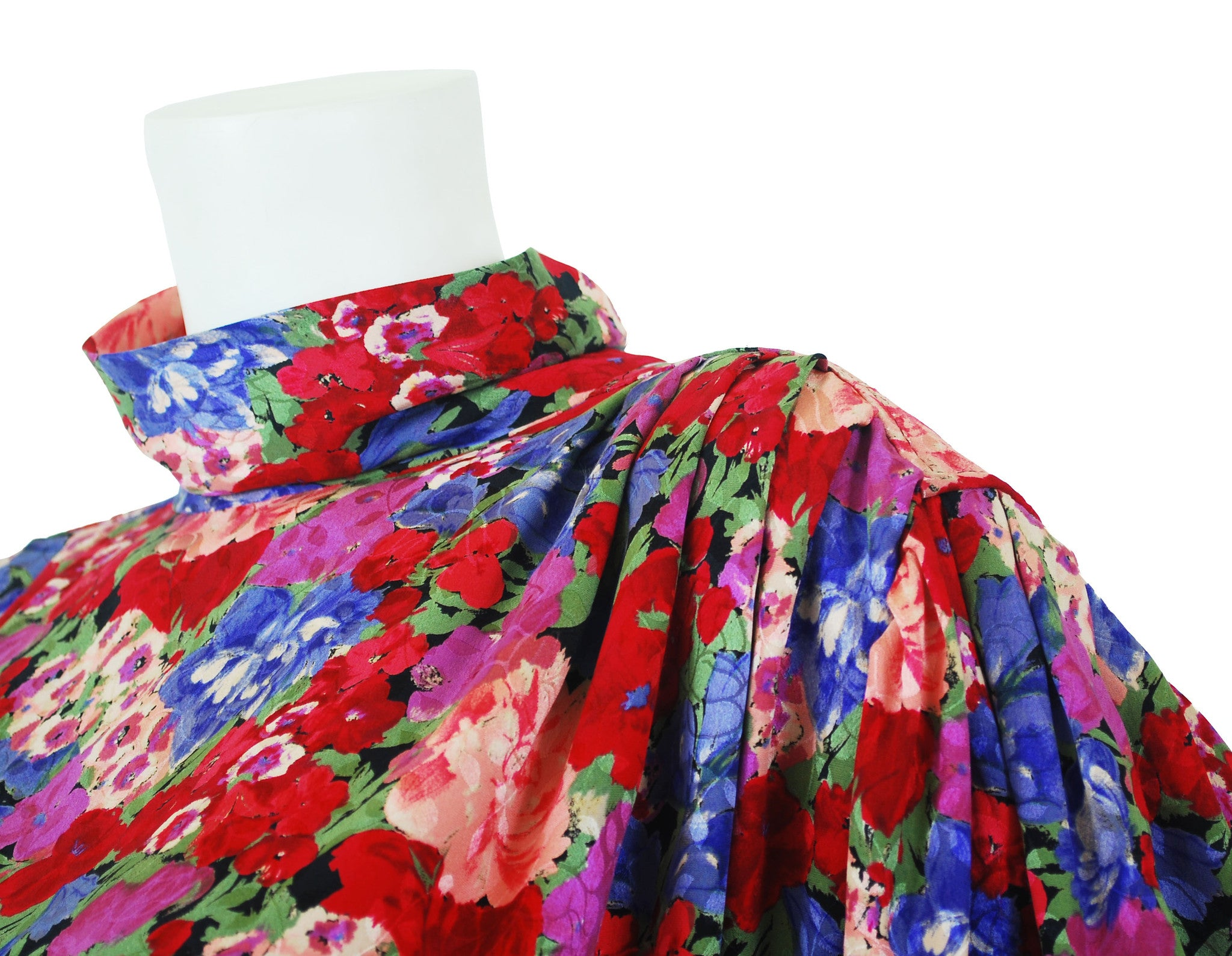 1980s Floral Jacquard Silk Sac Dress
