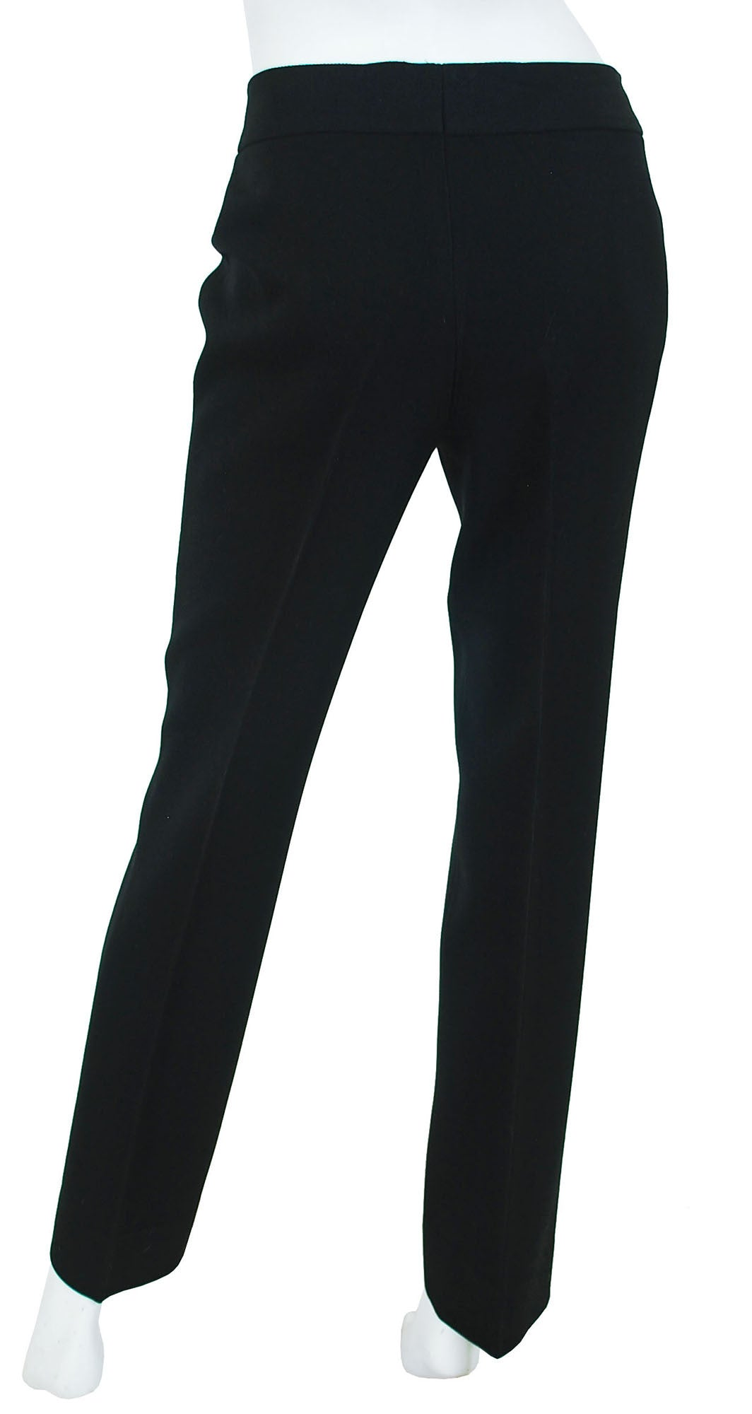 1970's Black Wool Logo Leather Trim Trousers