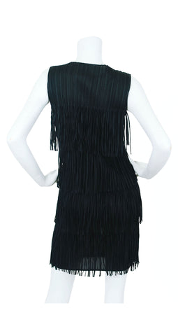 Pleats Please Black Fringe Mini Dress