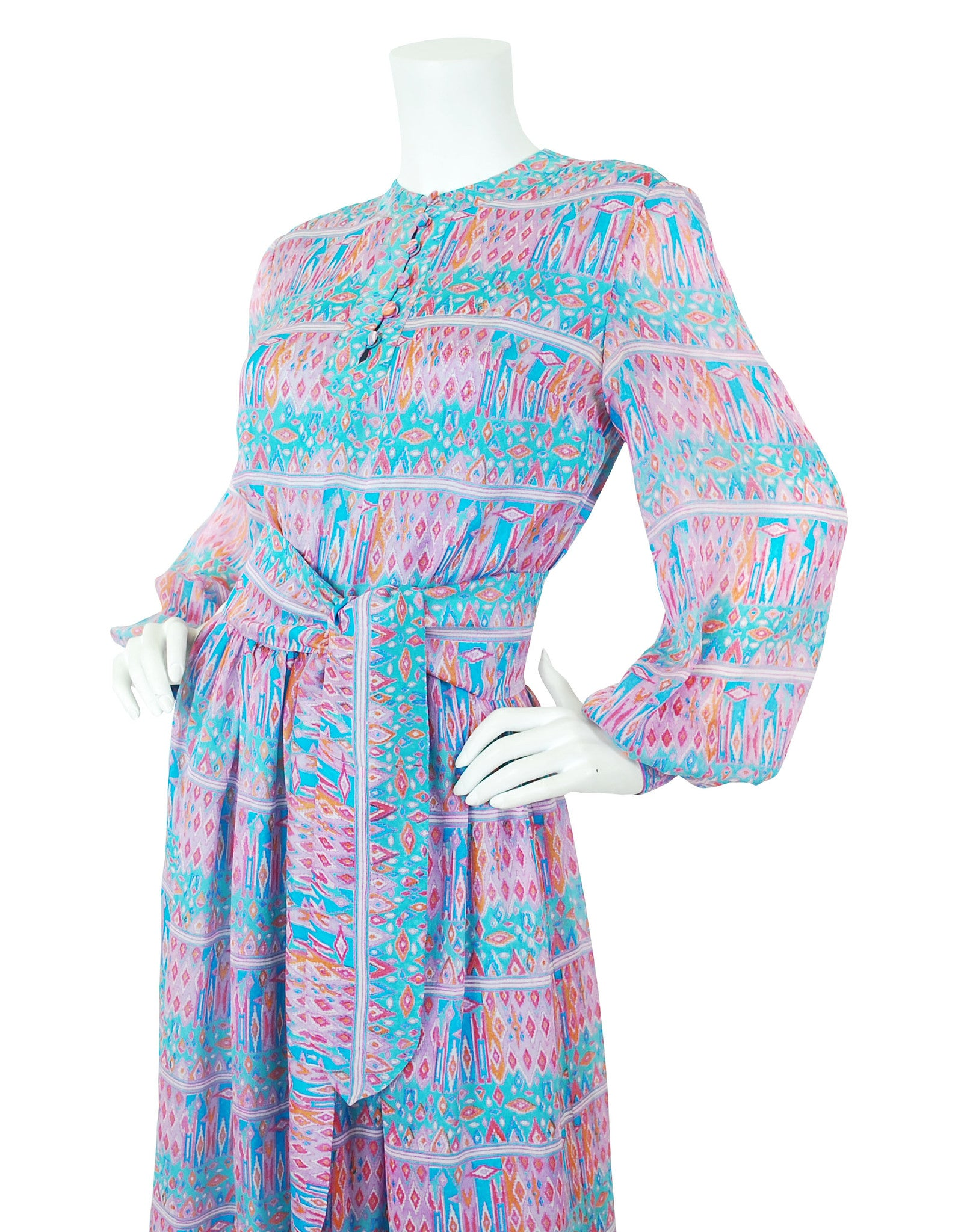 1970s Pastel Indian Tissue Silk Dress