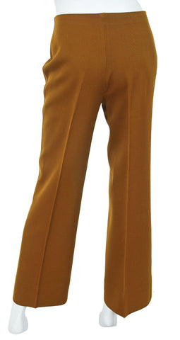 1970's Brown Wool Logo Leather Trim Trousers