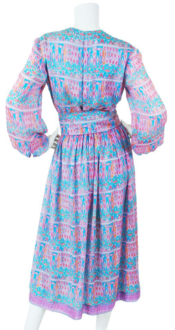 1970's Pastel Indian Tissue Silk Dress
