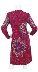 1970s Magenta Floral Kaleidoscope Wool Dress