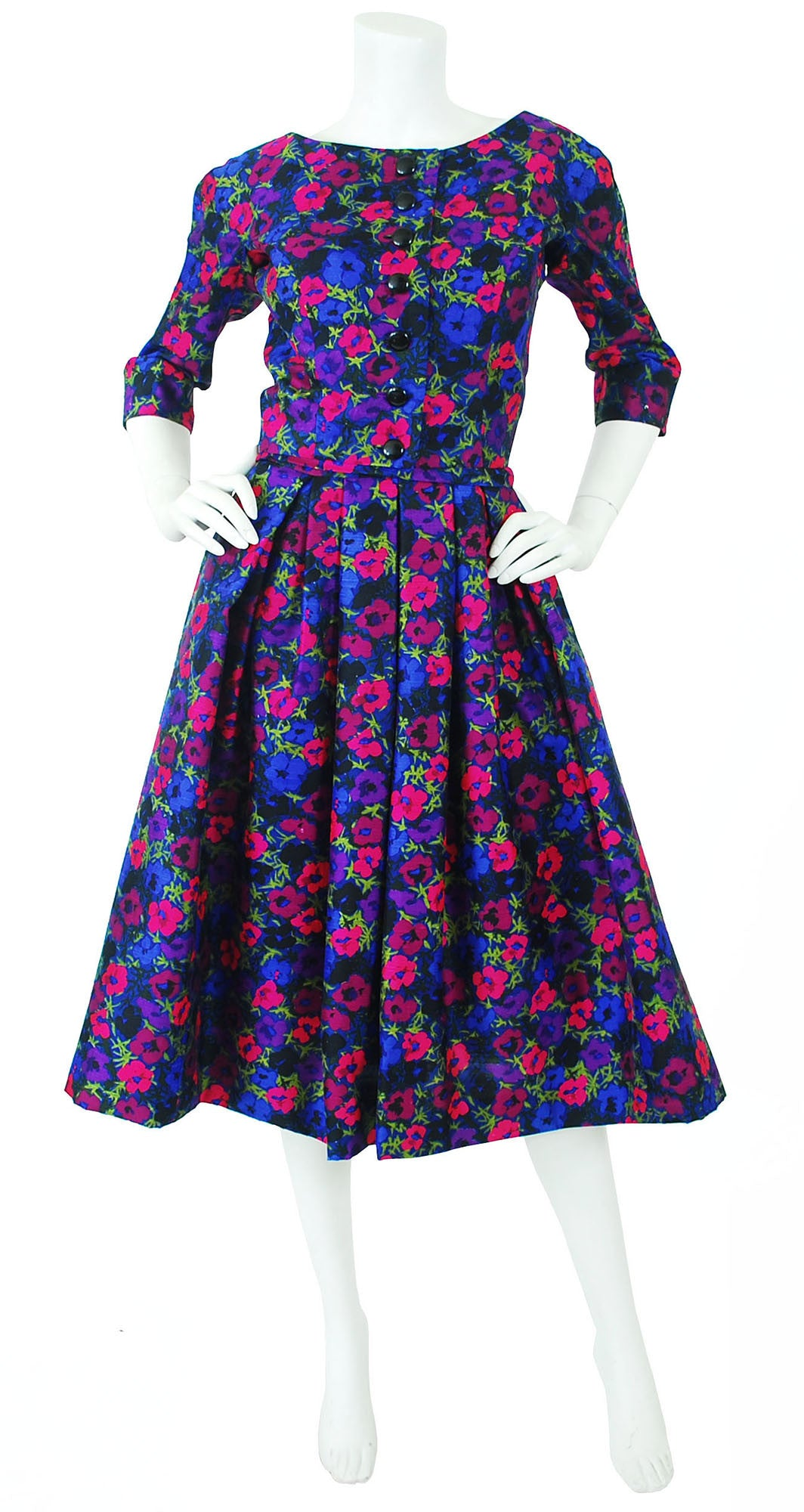 Couture 1950s Floral Silk Full Skirt Dress Set