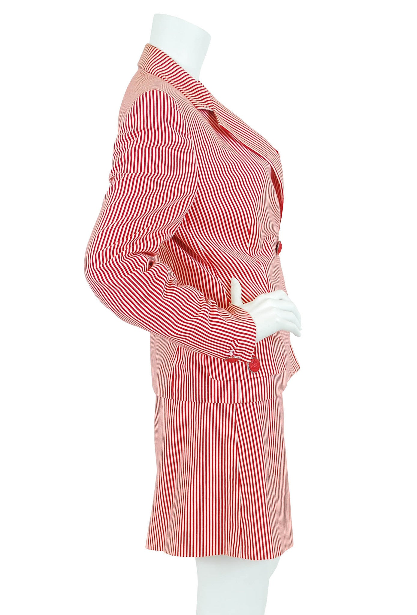 Red & White Pinstriped Skirt Suit
