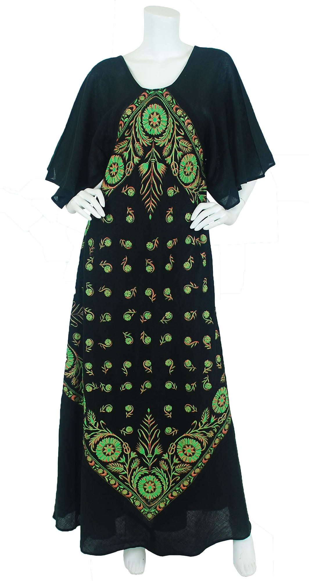 Green & Pink Stencilled Black Cotton Caftan