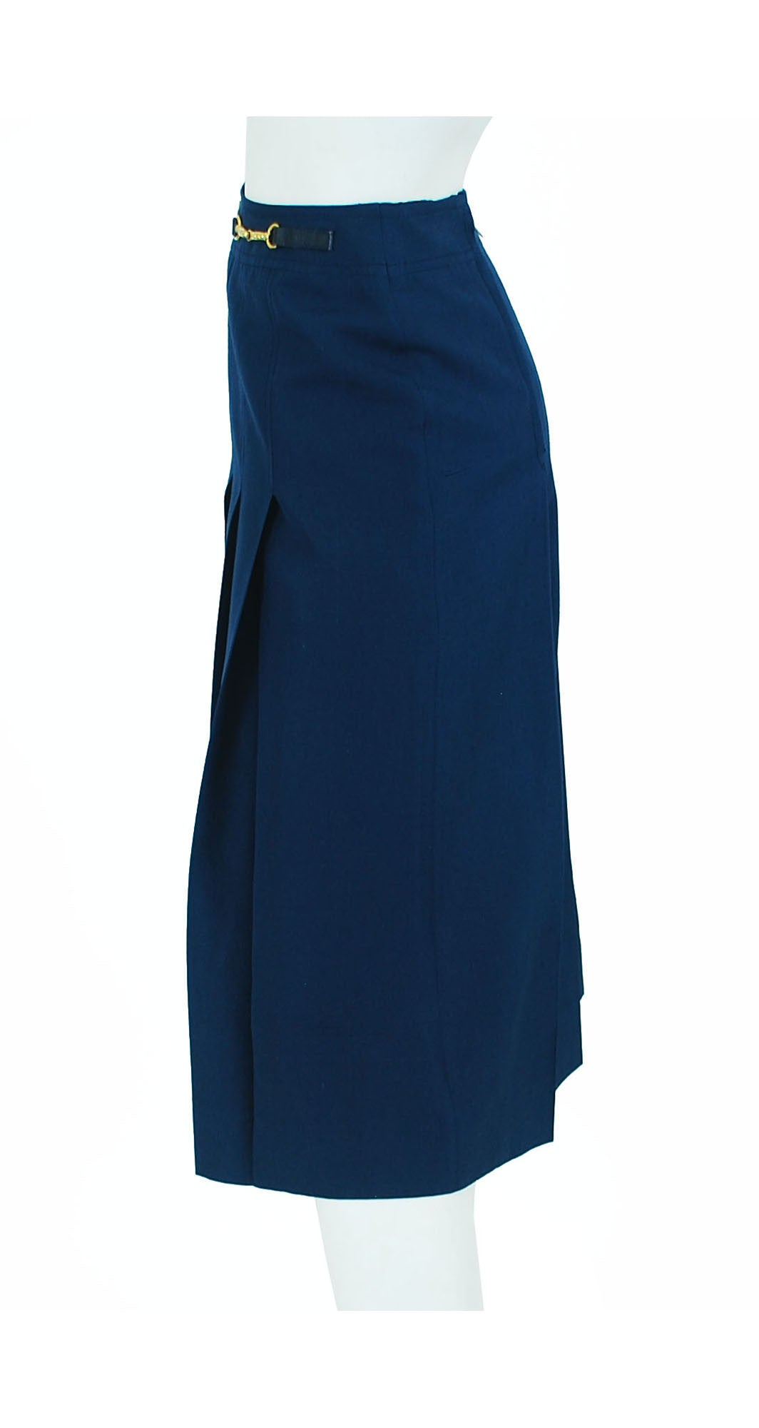 1970s Navy Raw Silk Pleated Skirt