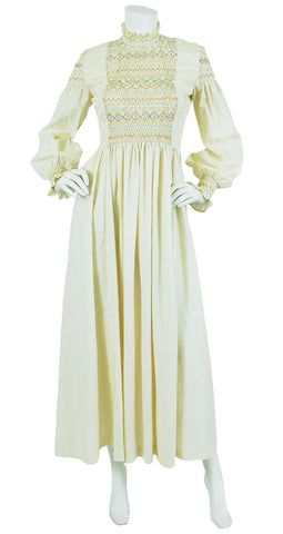 1970's Embroidered Pintuck Cream Cotton Maxi