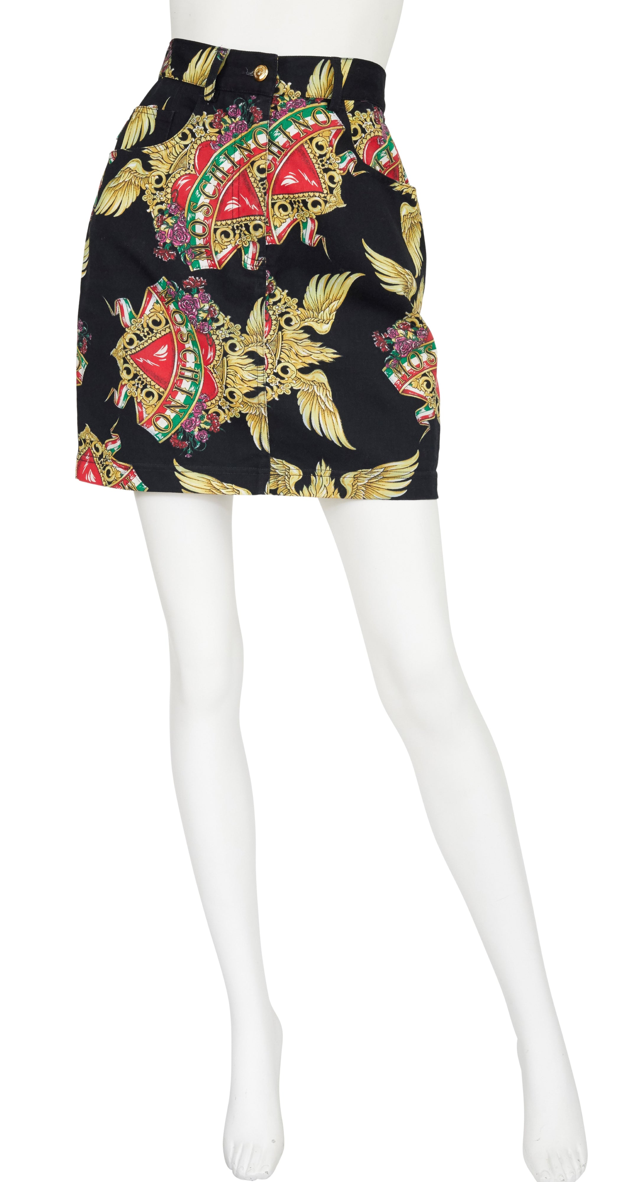 1990s Winged Heart Denim Mini Skirt