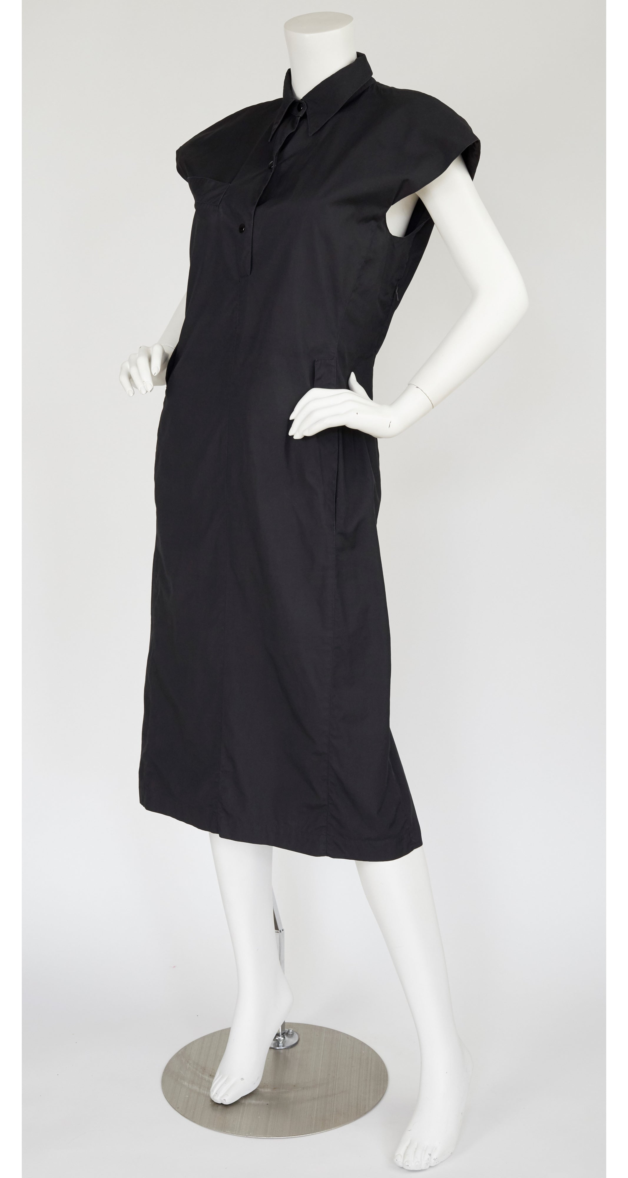 1980s Black Cotton Fishtail Dress