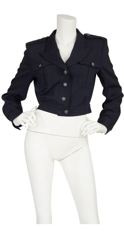 1980s Military-Inspired Navy Wool Cropped Jacket