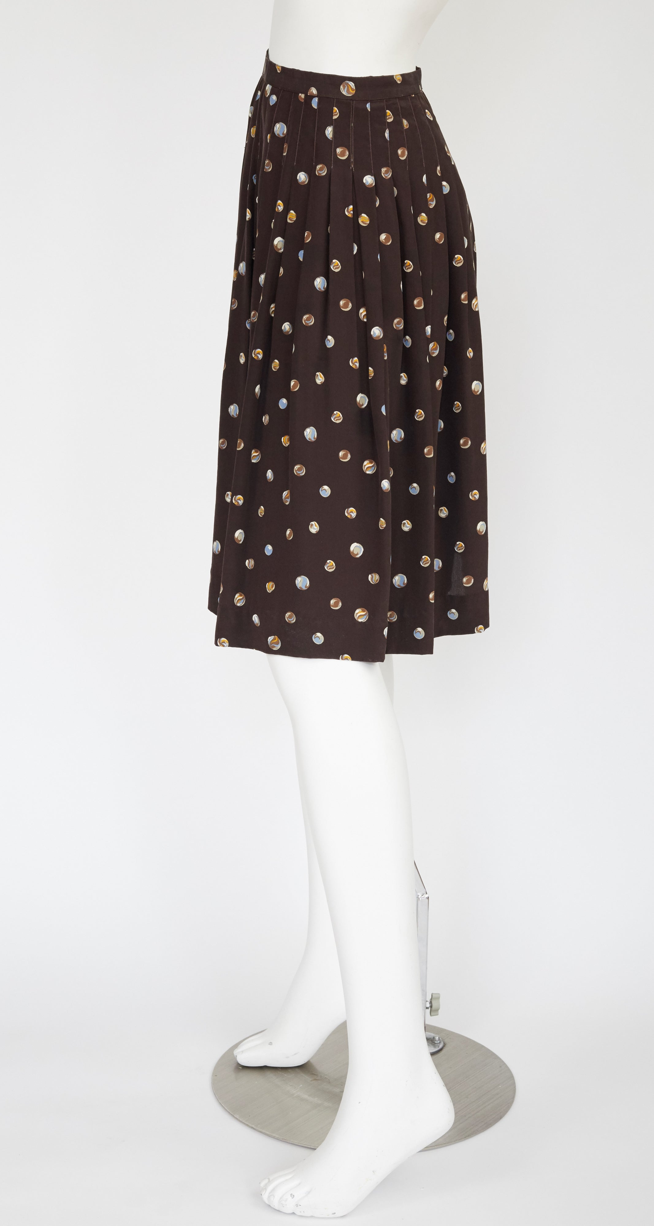 1970s Marble Print Brown Silk Pleated Skirt