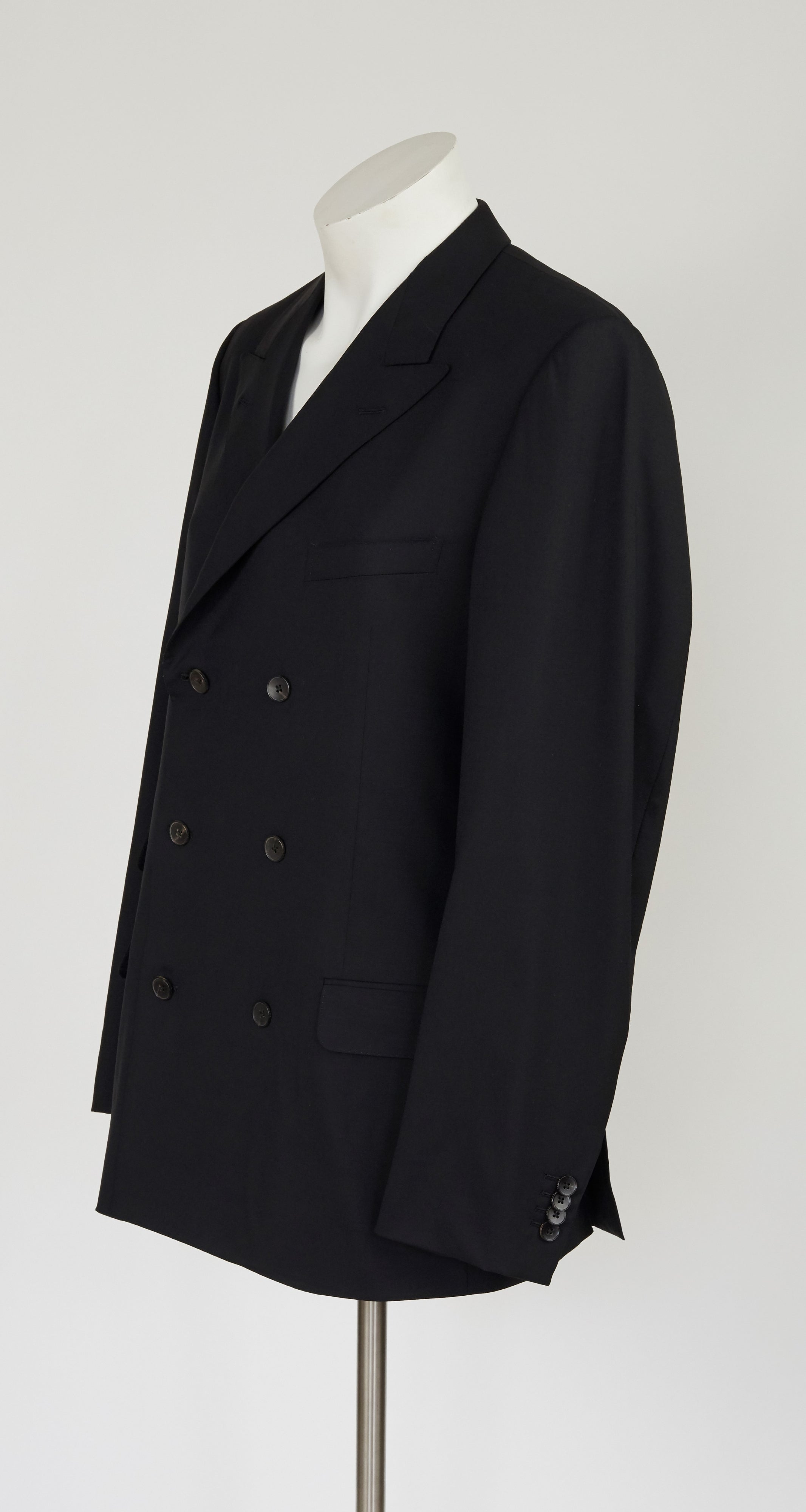 2003 S/S Black Wool Double-Breasted Suit Jacket