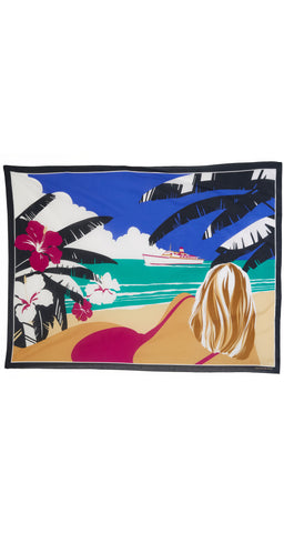1980s NOS Tropical Beach Scene Cotton Pareo