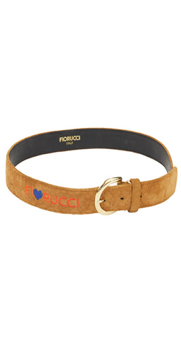 "1980s ""FI♥RUCCI"" Embroidered Suede Belt"