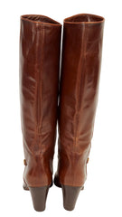 1970s Horsebit Brown Leather Wood Stacked Heel Boots