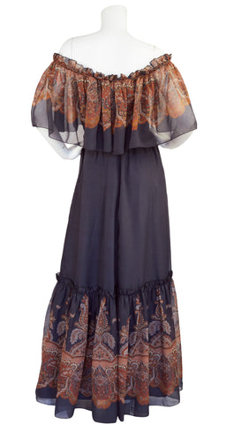 1970s Off-Shoulder Paisley Ruffle Chiffon Maxi Dress