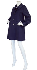 1960s French Mod Navy Blue Wool Balloon Sleeve Coat