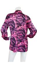 1990s Navy & Pink Butterfly Print Silk Blouse