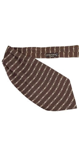 "1970s Men's ""C"" Logo Brown Silk Ascot Cravat"