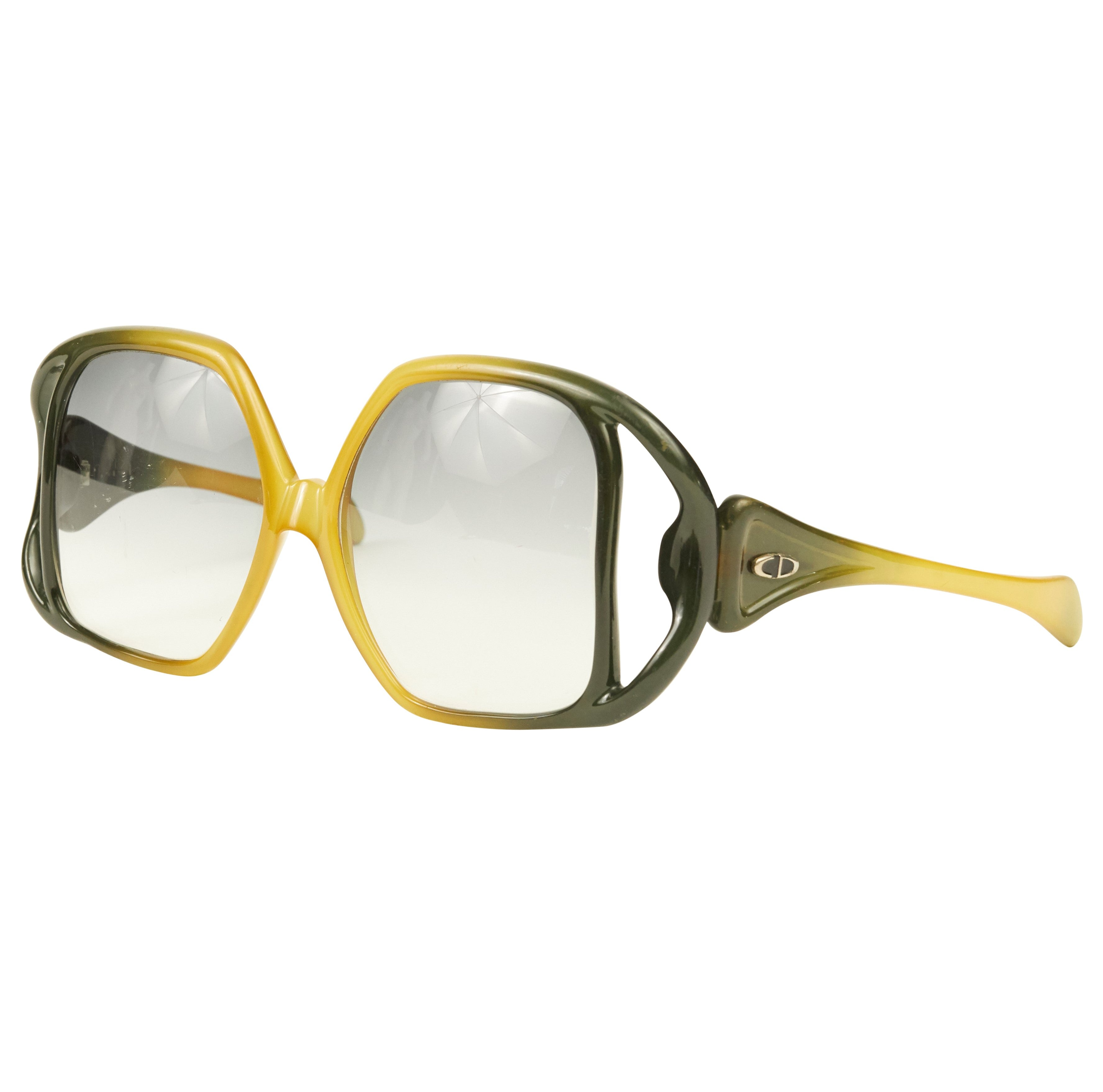 1973 Documented Optyl D02 Oversized Gradient Cut-Out Sunglasses