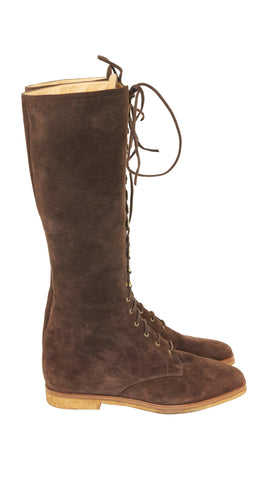 1990s Brown Suede Lace-Up Riding Boots