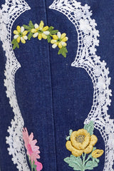 1970s Floral & Lace Appliqué Denim Two-Piece Set