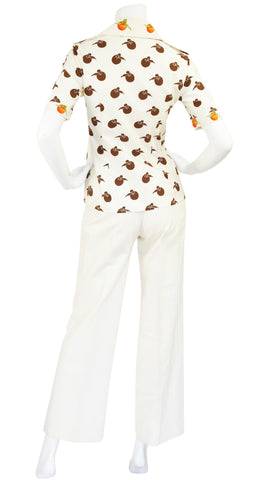 1970s Oranges Novelty Print Cotton Safari Outfit