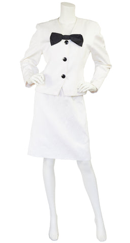 1980s White Cotton Tuxedo Skirt Suit